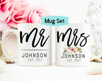 Mr and Mrs Mug Set, Wedding Mugs, His and Her Mugs, Bride and Groom Mugs, Mr and Mrs Anniversary Mugs, Couples Mugs, Custom Mug Set