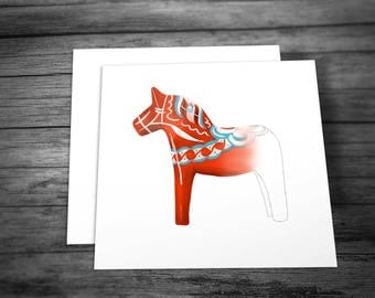 Greeting Cards (5-pack) - with Swedish Dala Horse design