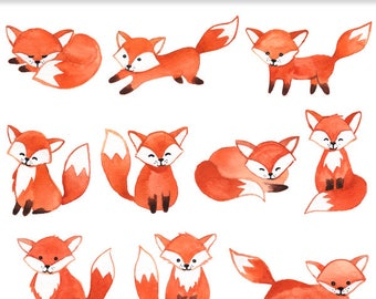 Watercolor foxes clipart - Hand painted clip art, fox, watercolour, woodland, cute animals clip art, instant download PNG