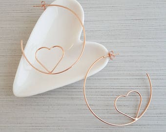 Rose Gold Heart Etched Hoop Earrings,Rose Gold Heart Etched Earrings,Rose Gold Heart Etched Earring,Heart  Etched Hoop Earring,Heart Earring