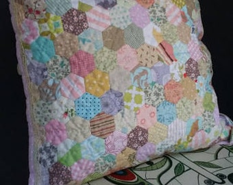 Unique Pink Patchwork Handsewn Quilted Hexagon Cover Lace Babe Showers Decor Cover Patchwork Pillowcase Babe Shower Pinkpastel Hexagon Decor