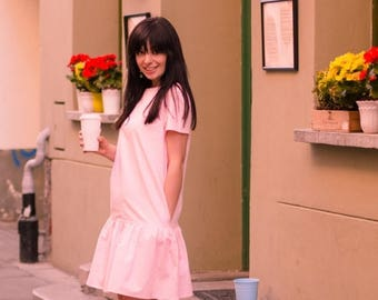 Loose cotton dress, XS size, Romantic dress, Pink short dress, Summer short dress, Summer loose dress, Pink romantic dress, Loose midi dress