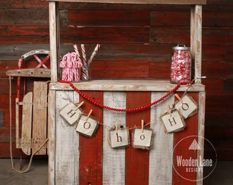 Christmas Digital Background, Christmas Digital Backdrop, Candy Cane Stand, Candy Canes, Christmas, Antique Sled, Photography