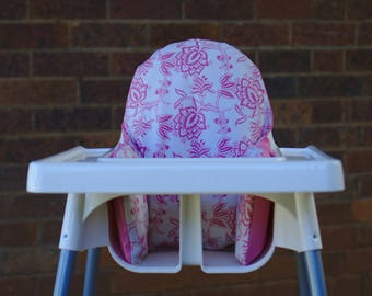 Pink Edwardian Floral - High Chair Cushion Cover To Fit IKEA Antilop Highchair Pyttig Insert - Trending Baby Girl - Fundas Trona