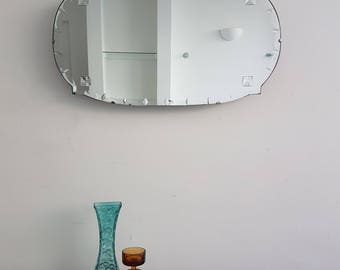 Vintage Frameless Mirror With Ribbons & Diamonds Edge And Great Shape