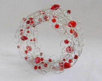 Bracelet red knitted bracelet knitted bracelet red