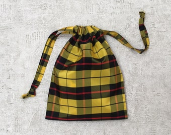 unique smallbag yellow plaid checkered - taffeta bag