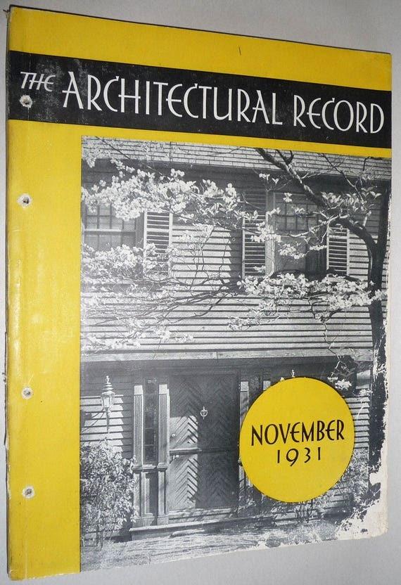 The Architectural Record Vol. 70 No. 5, November, 1931 Architecture Building Design