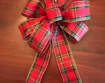Green and Red Plaid Christmas Bow