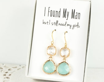 Long Mint and Crystal Gold Earrings, Gold Mint Earrings, Mint Green Earrings, Bridesmaid Jewelry, Green Wedding Jewelry, Bridesmaid Gift