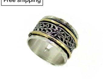 925 Sterling silver ring,Spinner meditation rings for women,Hammered ring,Jewelry,floral shapes,gold filled spinner rings,wide ring,spinning