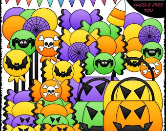 Halloween Treats Clip Art and B&W Set