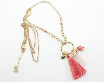 Bohemian Style Pink Long Necklace with Bullet Shaped Crystal Pendant // Tassel Pendant