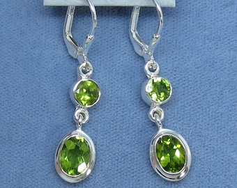 Natural Peridot Double Dangle Long Leverback Earrings - Sterling Silver - 362523 - Free Shipping to the USA