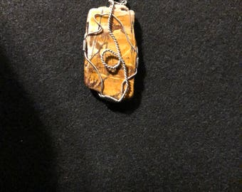 Freeform Picasso Jasper pendant with Silver-plated wire and 925 Sterling Silver-filled chain.  J 8