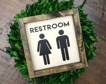 Mini Collection - Restroom +NEW sizes! | Bathroom Wall Decor | Farmhouse Bathroom Sign | Wood Framed Sign | Farmhouse Sign | Farmhouse Decor