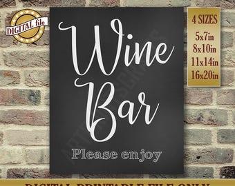 Wine Bar, Wine Bar Sign, Wedding Signs, Wedding Bar Sign, Please Enjoy, Chalkboard Sign, Wedding Card, Instant Printable DIGITAL FILE, JPG