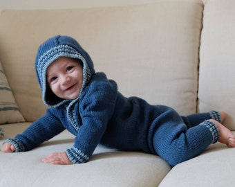 Baby suit with hood (jumpsuit, jumpers), handmade, wool baby merino, seamless, size 6-9 months