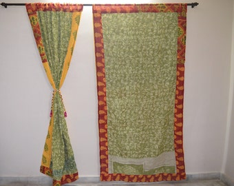 GIFT Indian quilt Hippy curtain Cotton Indian curtain Boho curtain gypsy curtain partition room divider recycled vintage BohemiancurtainQC30
