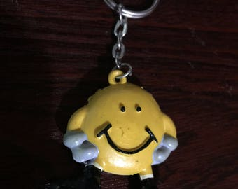 Happy Smiley Face Football Player KeyRing/Keychain