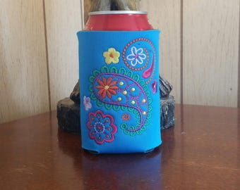 Mehndi Flower Can Cooler, Embroidered Can Cooler, Birthday Cozies, Embroidery Can Cooler, Cozies, Blue Mehndi Can Cooler, Mehndi Cozies