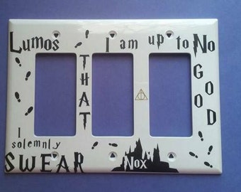 Harry Potter Lumos-Nox-The Marauder's Map Light Switch Cover-Deathly Hollows