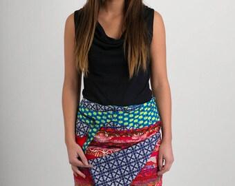 Reversible Cotton Skirt Red Patch Blue Print Detachable Pocket Medium Length