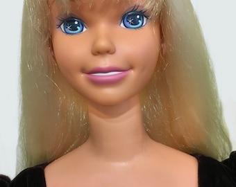 Vintage Just My Size Barbie, 38 inch tall, vintage child's boutique dress, Tip Top Kids, children's clothing, burgundy, velvet, tulle, roses