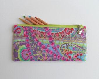 Gift for teacher, No. 1 Teacher charm, paisley fabric, pencil case, small zipper purse, sunglasses case, handbag organizer, ready to ship