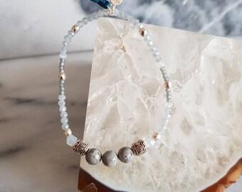 Emma Semi Precious Jasper Delicate Beaded Tassel Bracelet