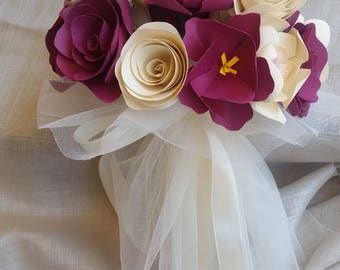 Ivory wedding bouquet purple Tulle