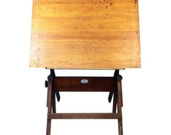 Anco Bilt Wood amp Cast Iron Industrial Drafting Drawing Art Table
