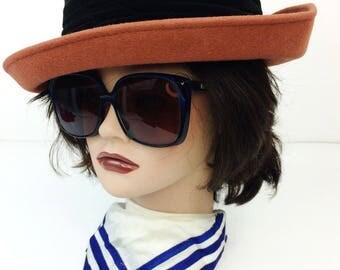 Vintage Geo Bollman Doeskin Brown Wool & Velour Trim Rolled Wide Brim Hat