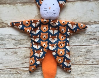 Baby blankie comforter cat first toy motif fox and bear