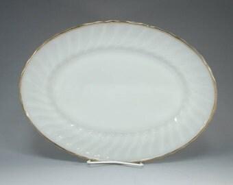 Fire King Platter, Golden Anniversary, 22 KT Gold, Vintage Platter, Swirl, Milk Glass, Vintage Oval Platter, Oven Ware, Anchor Hocking,