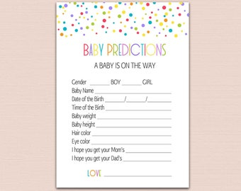 BABY PREDICTION CARDS, rainbow confetti predictions for baby printable, baby prediction game, Rainbow Baby Shower Game gender neutral BL4