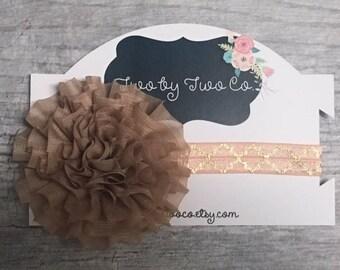 Oversized Chiffon Neutral Newborn Headband