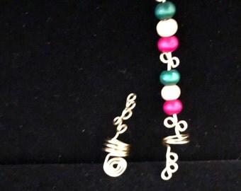Beautiful wood bead loc jewel set