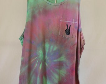 Mens Medium - Tank Singlet - Ready To Ship - Unisex - Pastel Tie Dyed - 100% Cotton - FREE SHIPPING within AUS