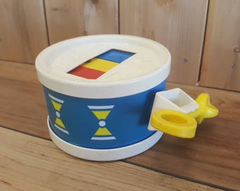 Vintage 1976 Fisher Price Baby Interactive Toy Drum with Stick 70s Made in USA Plastic Xylophone Retro Childhood Memorabilia Preschool