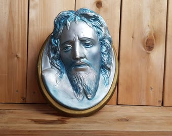 Vintage Jesus Silver and Metallic Blue Painted Ceramic Wall Hanging Decorative Religious Collectible Gift Christians Catholics Baptism Gift