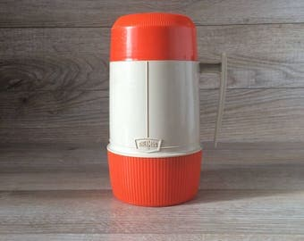 Vintage from the 70's Thermos Brand - Large Insulated Food container w. Cup / Made in Canada / Lunch, Camping, School, Travel / Retro Orange