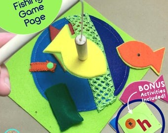 Fishing Game Busy Book Page for TinyFeats Custom Quiet Book - Best Toddler Educational Toys - Learn Colors - Fine Motor Skills - Travel Toy