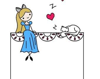 Women's embroidered white t-shirt, pocket tee, Alice in Wonderland