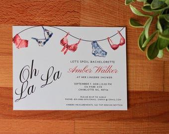 Lingerie Shower Invitation, Bachelorette Party Invitation, Lingerie Party, DIY or Printed Invitation