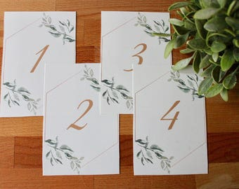 Greenery Table Numbers, Printed Table Numbers, Wedding Table Numbers, Table Number, Christmas Table Numbers