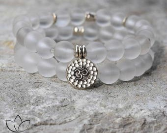 The OM Bracelet SET - Frosted Clear Quartz