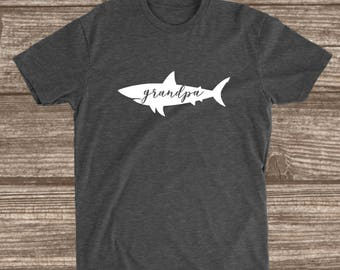 Grandpa Shark Dark Heather Grey T-shirt - Grandpa Shark Shirt - Grandpa Shirts