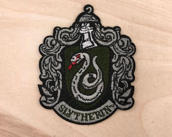 SLYTHERIN PATCH: Harry Potter Embroidered Iron On Patch - Hogwarts Magic School High Quality Snake Logo Gift