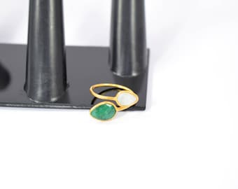 emerald ring ,moonstone ring,green color ring, tiny gemstone ring, natural stone ring ,gold plating ring,adjustable ring ,double stone ring